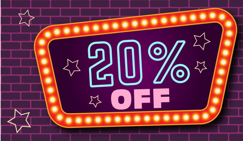 20% OFF on all orders placed now